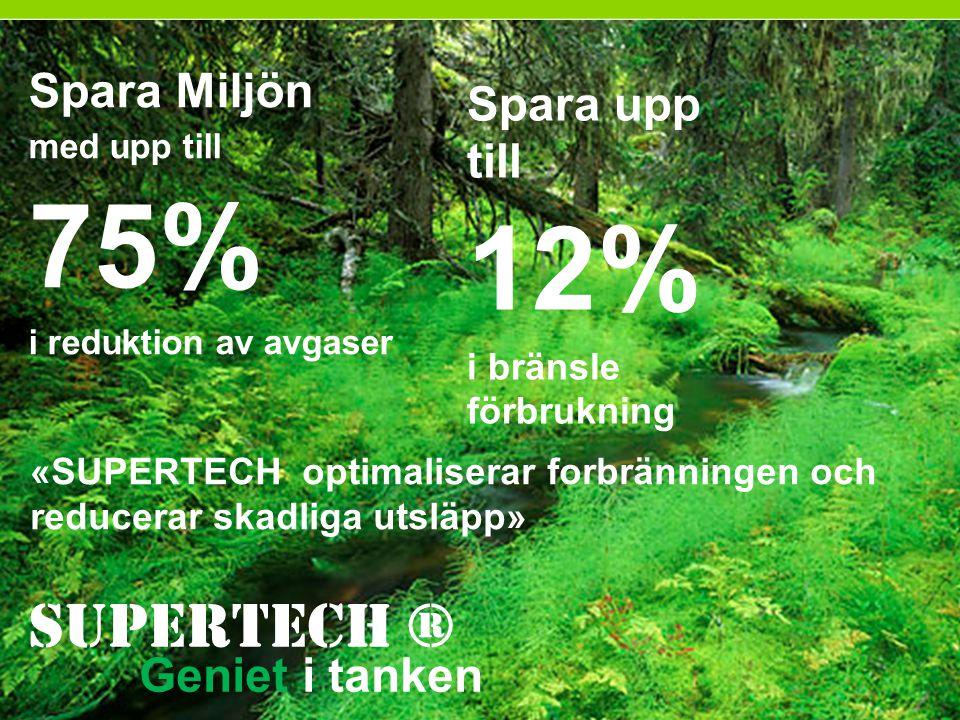 75% 12% Supertech ® Spara Miljön Spara upp till Geniet i tanken
