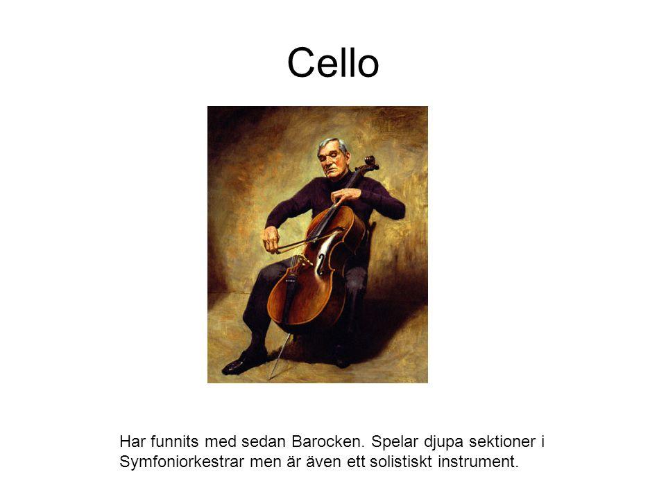 Cello Har funnits med sedan Barocken. Spelar djupa sektioner i