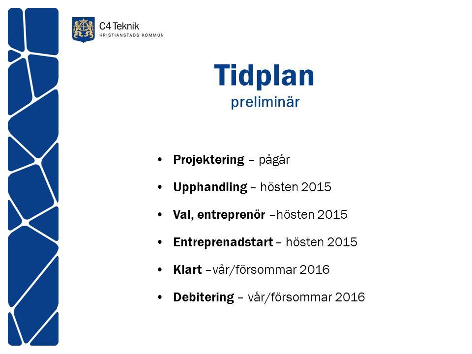 Tidplan preliminär Projektering – pågår Upphandling – hösten 2015