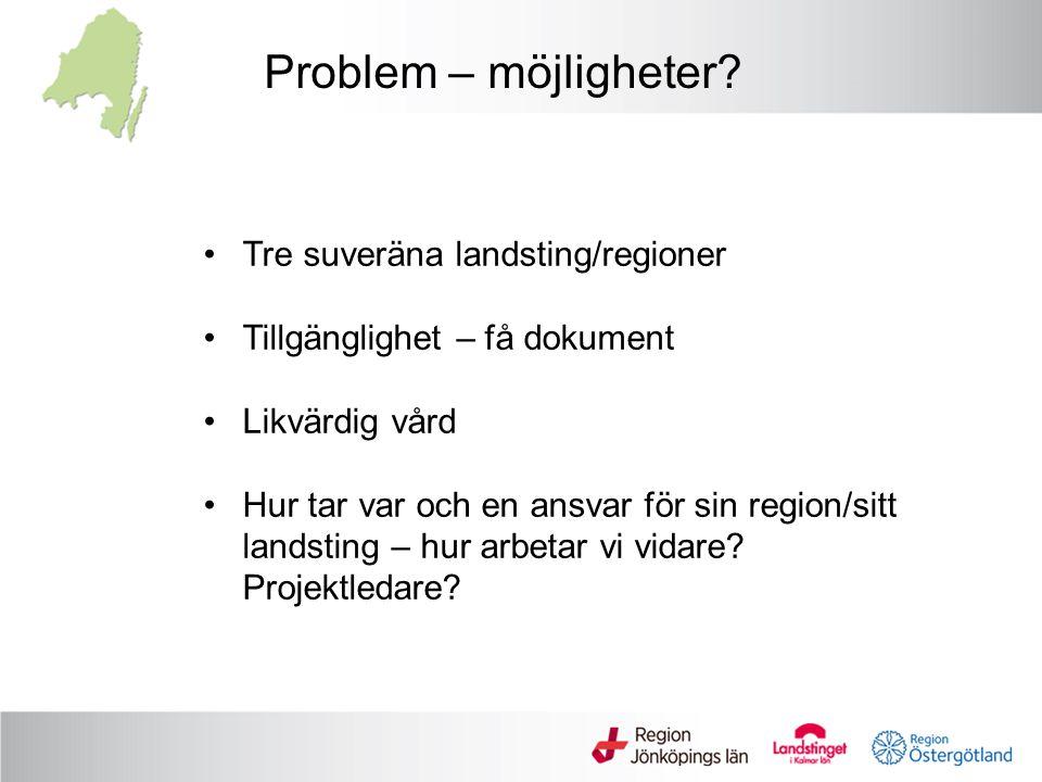 Problem – möjligheter Tre suveräna landsting/regioner