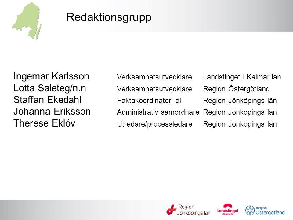 Redaktionsgrupp Ingemar Karlsson Verksamhetsutvecklare Landstinget i Kalmar län.