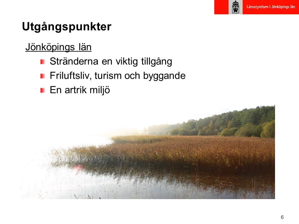 Utgångspunkter Jönköpings län Stränderna en viktig tillgång