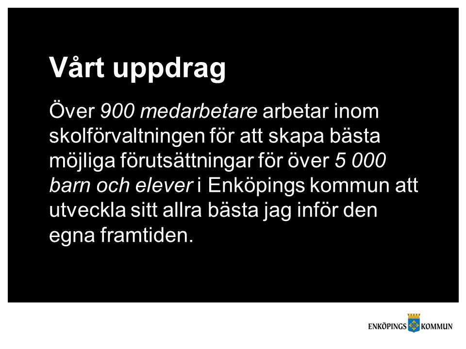 Vårt uppdrag Över 900 medarbetare arbetar inom skolförvaltningen för att skapa bästa möjliga förutsättningar för över 5 000 barn och elever i Enköpings kommun att utveckla sitt allra bästa jag inför den egna framtiden.