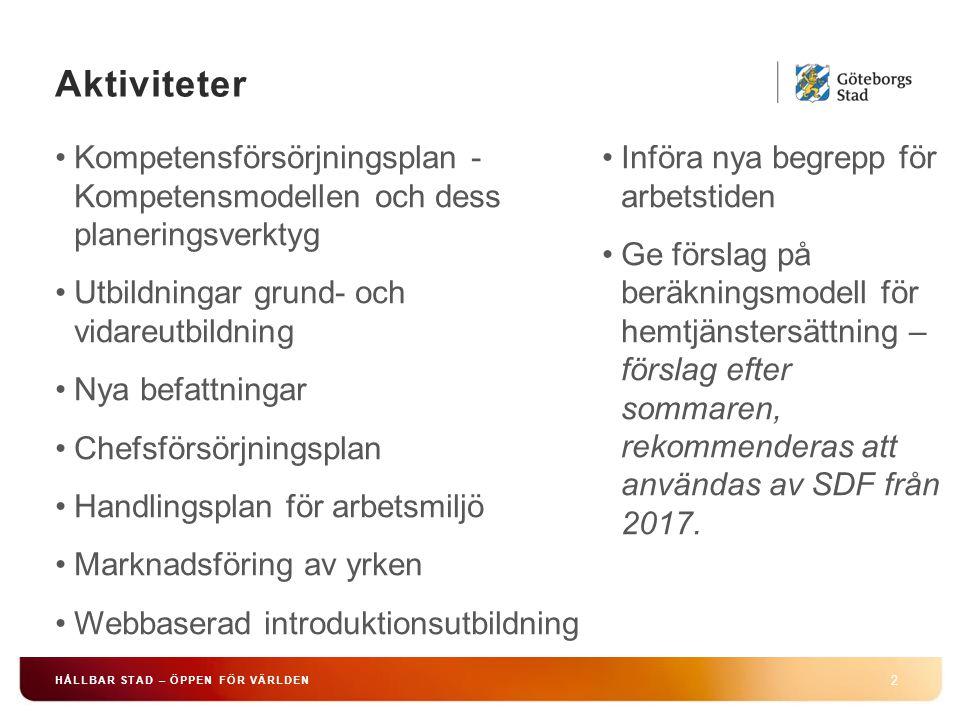 Aktiviteter Kompetensförsörjningsplan - Kompetensmodellen och dess planeringsverktyg. Utbildningar grund- och vidareutbildning.