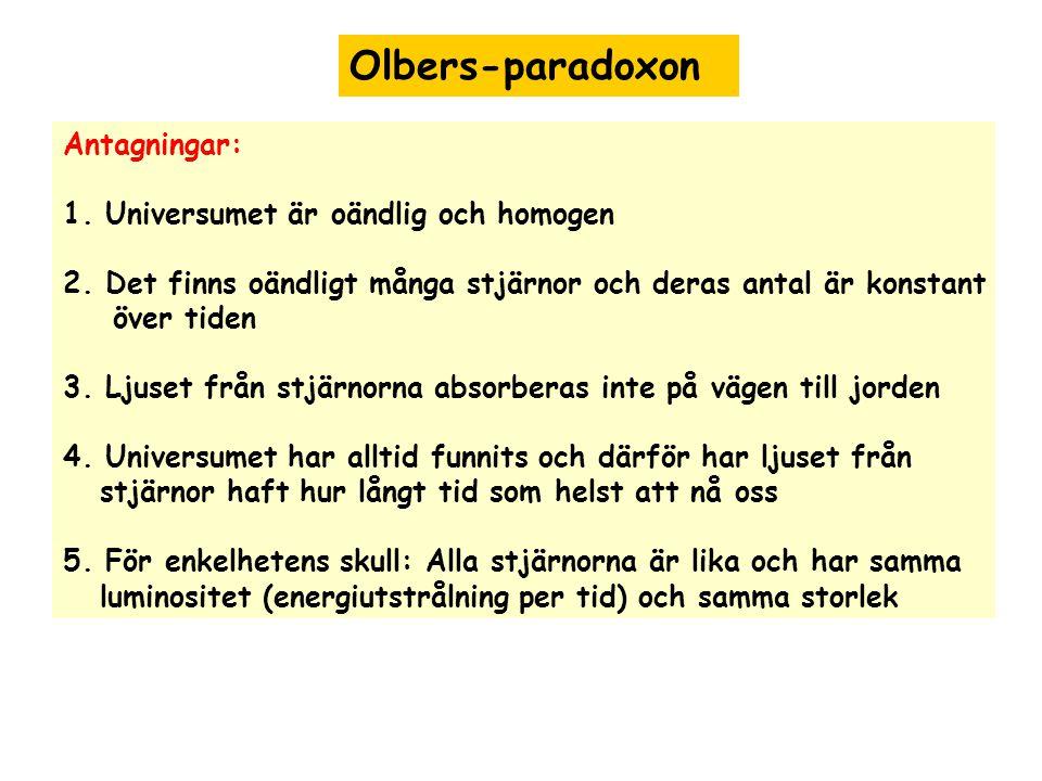 Olbers-paradoxon Antagningar: 1. Universumet är oändlig och homogen