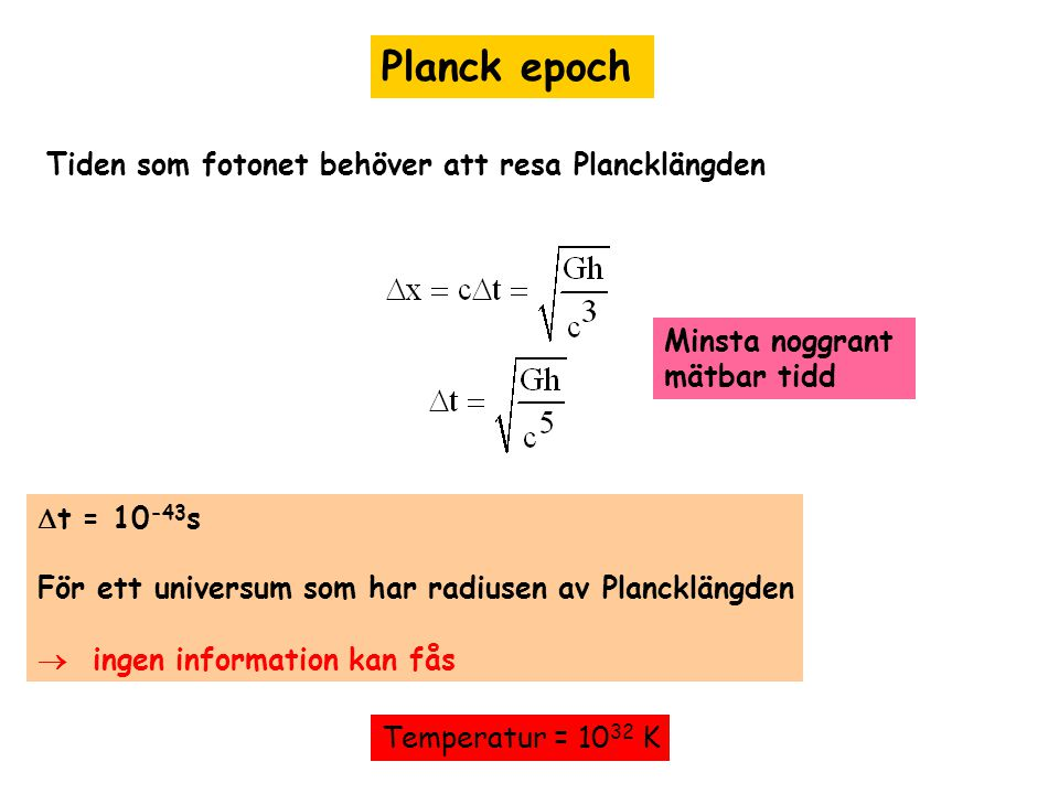 Planck epoch Tiden som fotonet behöver att resa Plancklängden
