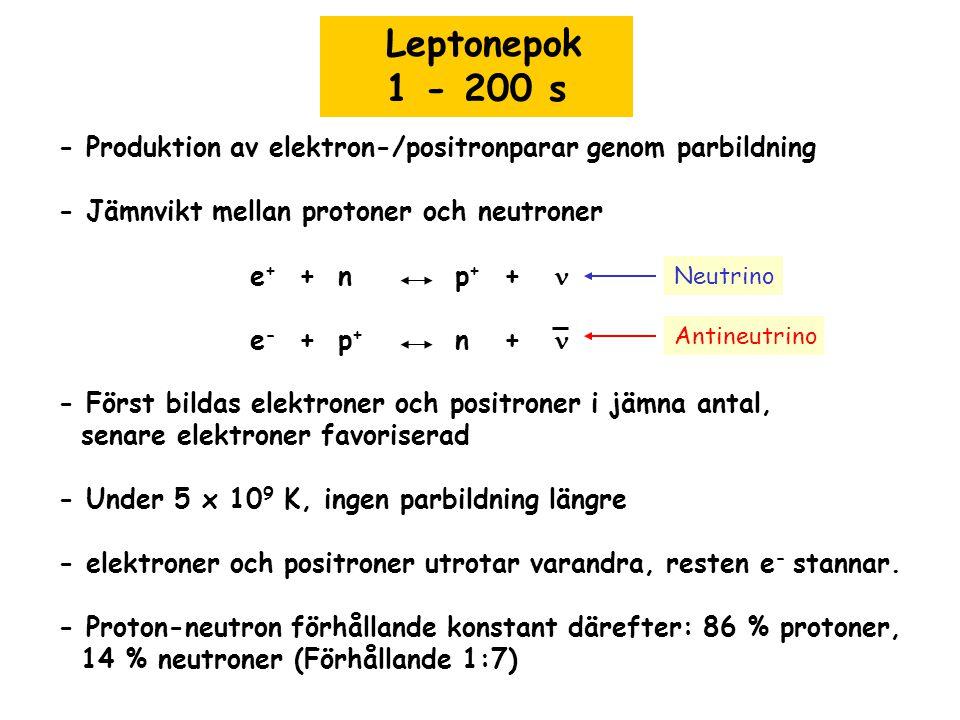 Leptonepok 1 - 200 s. - Produktion av elektron-/positronparar genom parbildning. - Jämnvikt mellan protoner och neutroner.