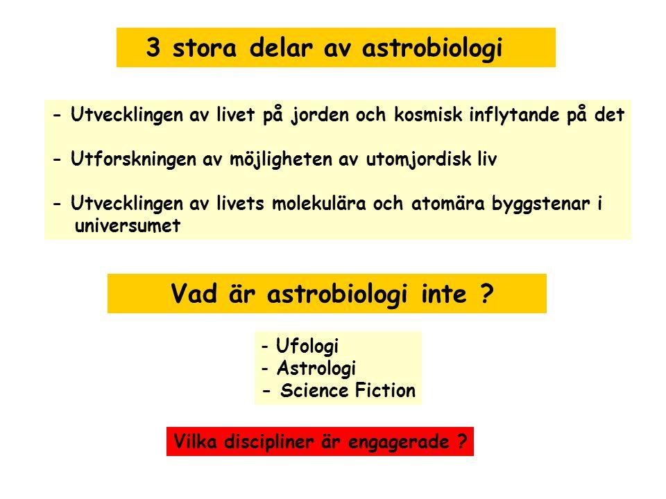 3 stora delar av astrobiologi