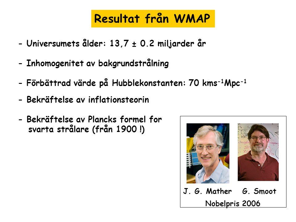 Resultat från WMAP - Universumets ålder: 13,7 ± 0.2 miljarder år