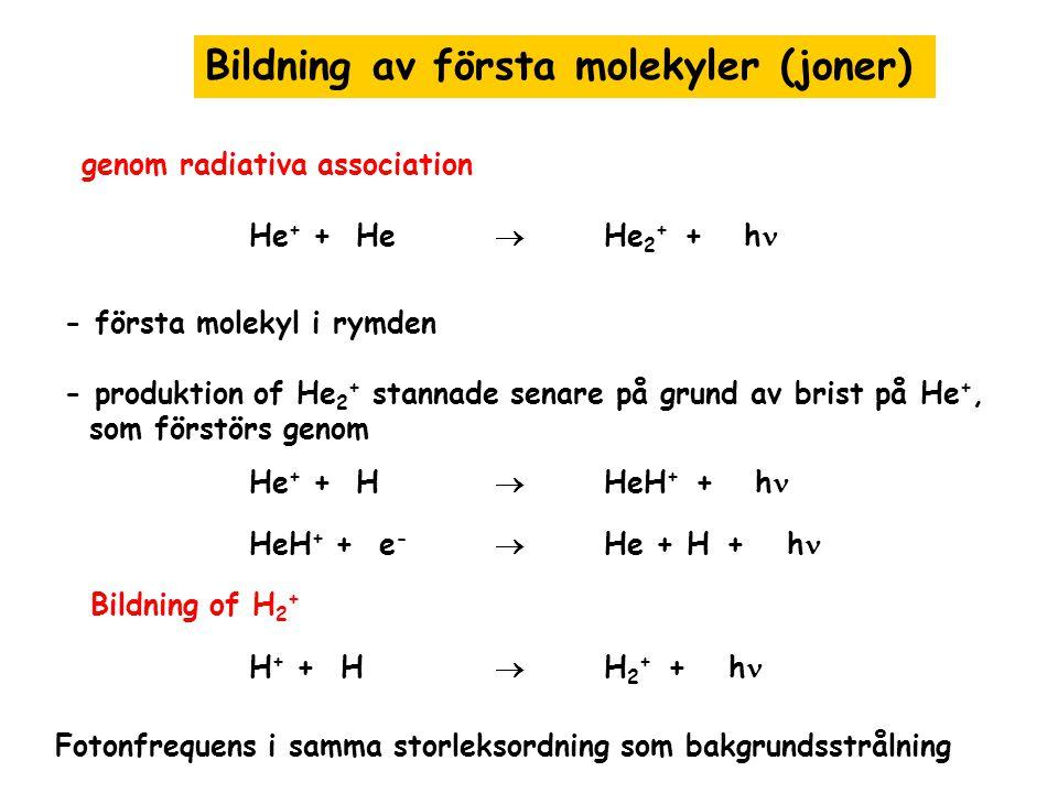 Bildning av första molekyler (joner)