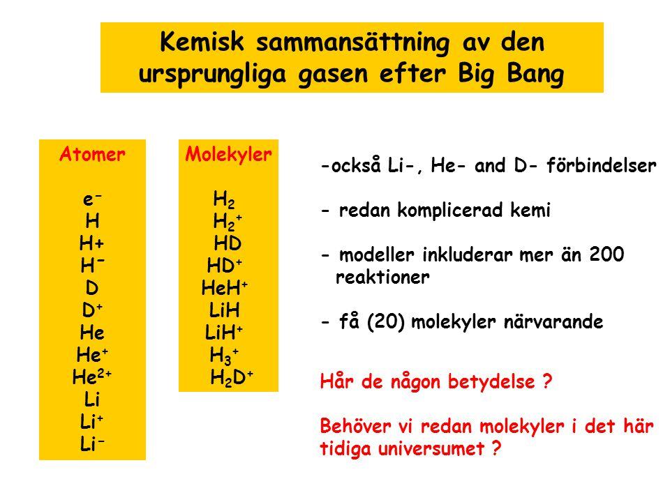 Kemisk sammansättning av den ursprungliga gasen efter Big Bang