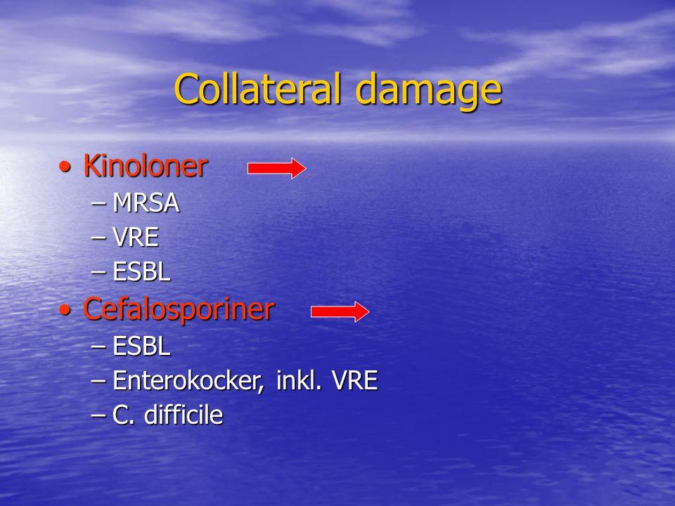 Collateral damage Kinoloner Cefalosporiner MRSA VRE ESBL