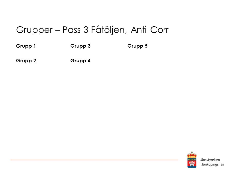 Grupper – Pass 3 Fåtöljen, Anti Corr