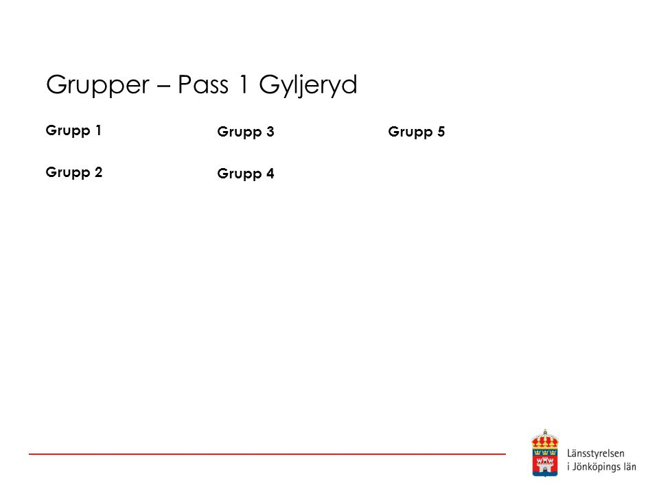 Grupper – Pass 1 Gyljeryd