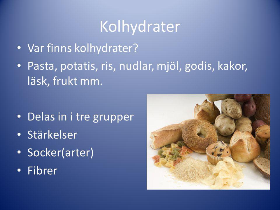Kolhydrater Var finns kolhydrater