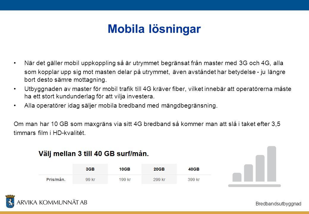 Mobila lösningar När det gäller mobil uppkoppling så är utrymmet begränsat från master med 3G och 4G, alla.