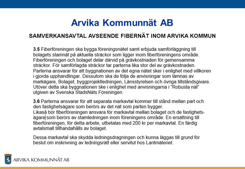 SAMVERKANSAVTAL AVSEENDE FIBERNÄT INOM ARVIKA KOMMUN