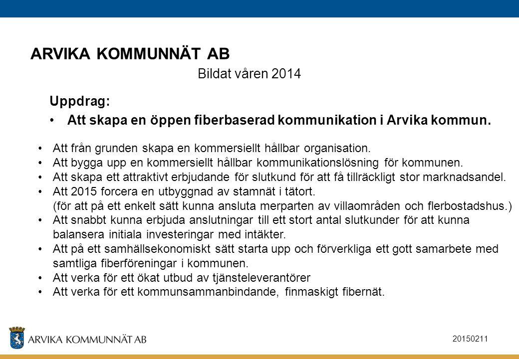 ARVIKA KOMMUNNÄT AB Bildat våren 2014 Uppdrag:
