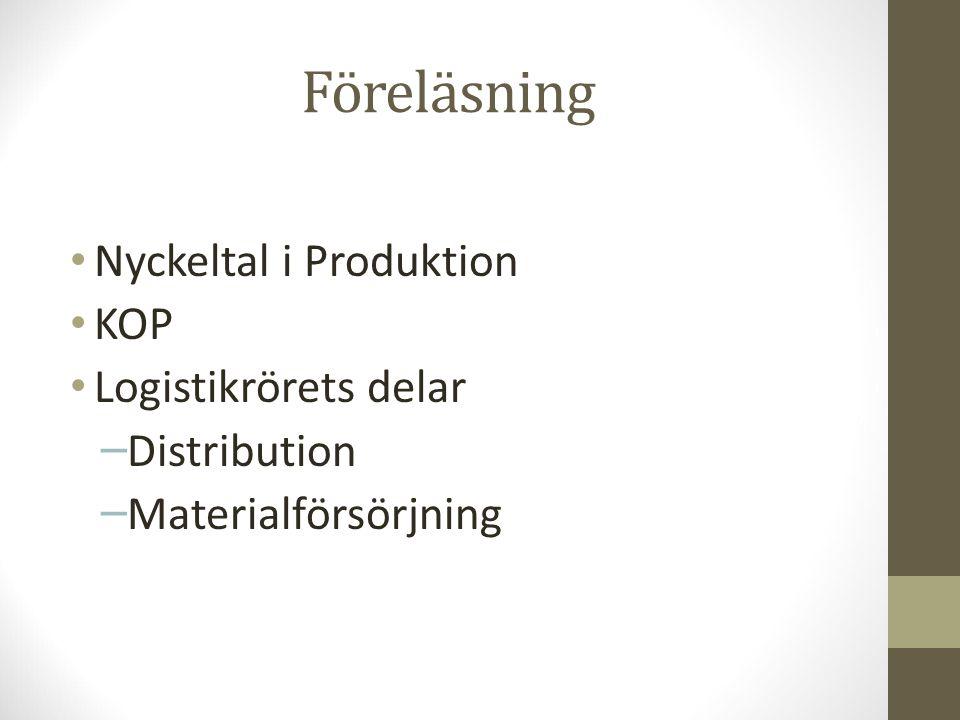 Föreläsning Nyckeltal i Produktion KOP Logistikrörets delar