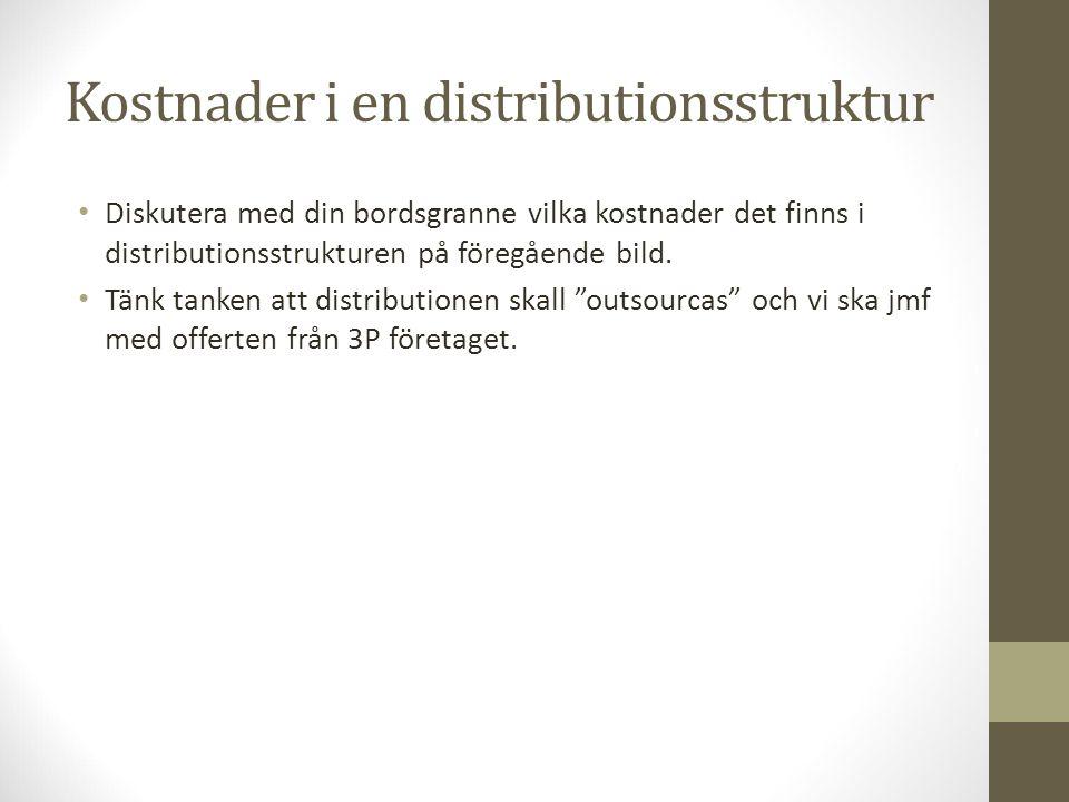 Kostnader i en distributionsstruktur