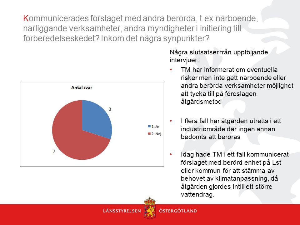 Kommunicerades förslaget med andra berörda, t ex närboende, närliggande verksamheter, andra myndigheter i initiering till förberedelseskedet Inkom det några synpunkter
