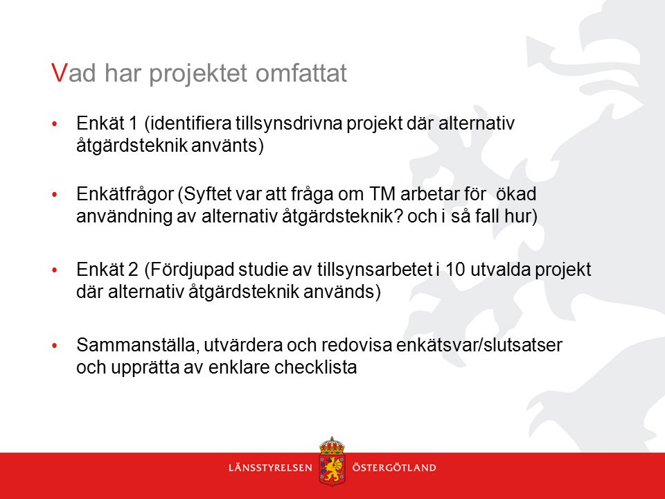 Vad har projektet omfattat