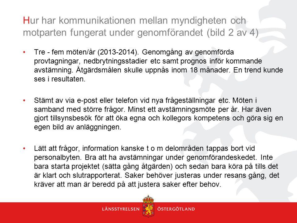 Hur har kommunikationen mellan myndigheten och motparten fungerat under genomförandet (bild 2 av 4)
