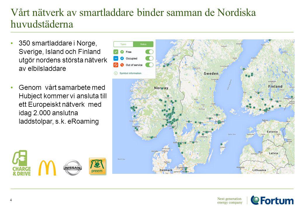 Vårt nätverk av smartladdare binder samman de Nordiska huvudstäderna