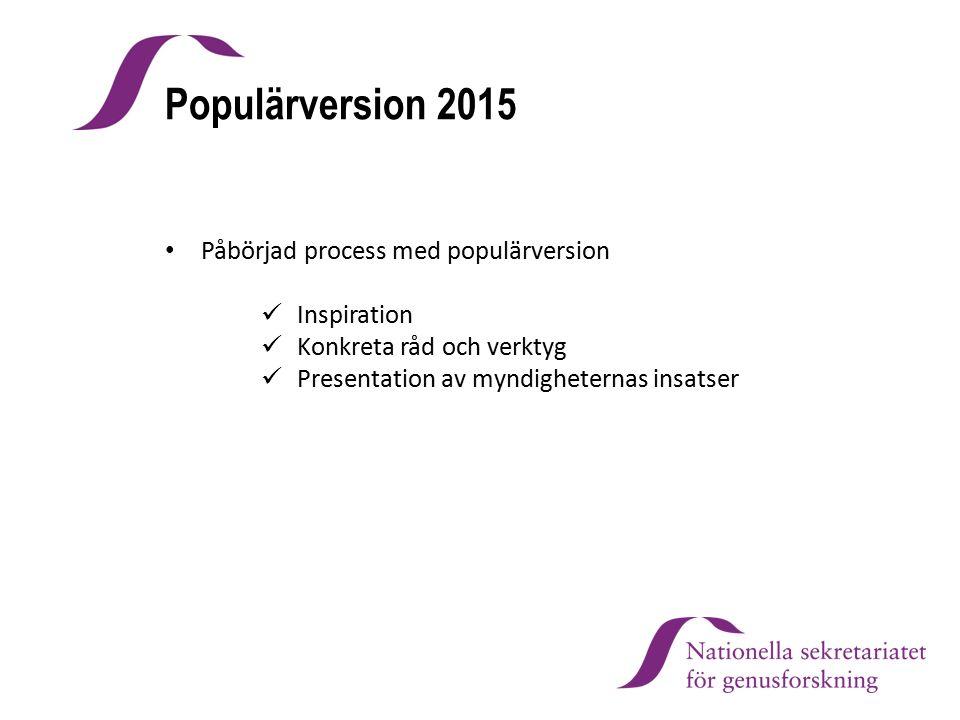 Populärversion 2015 Påbörjad process med populärversion Inspiration