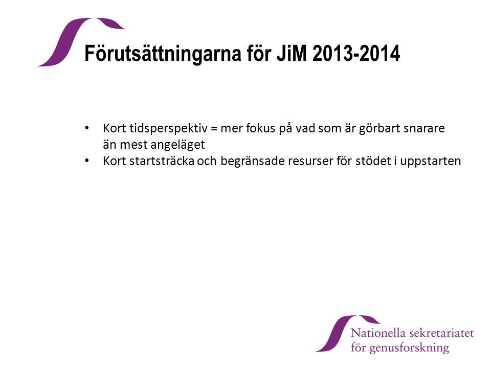 Förutsättningarna för JiM 2013-2014