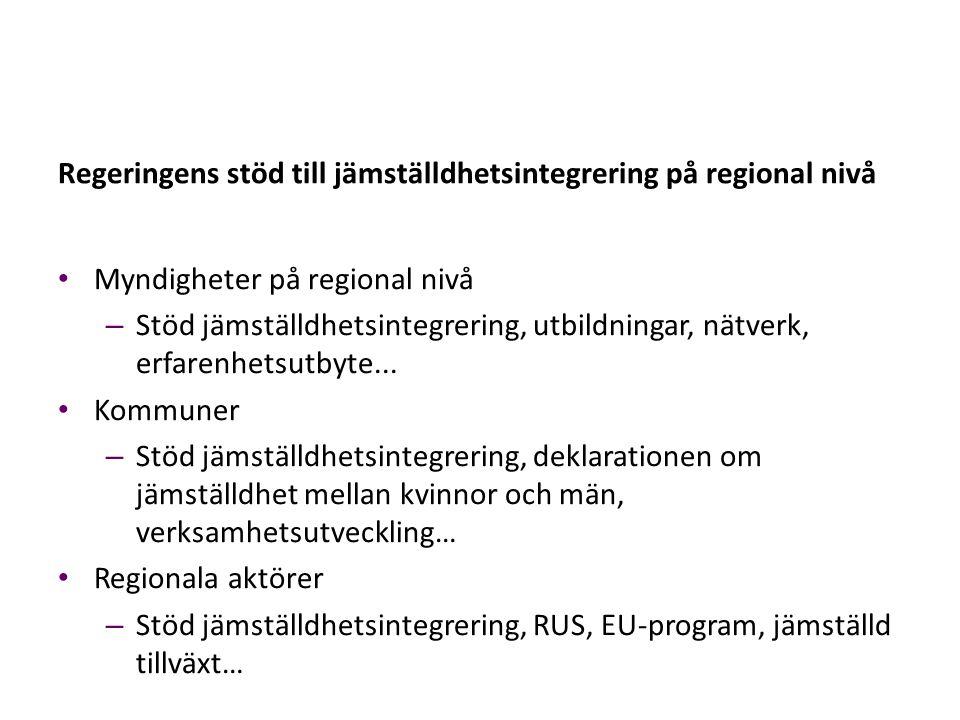 Regeringens stöd till jämställdhetsintegrering på regional nivå