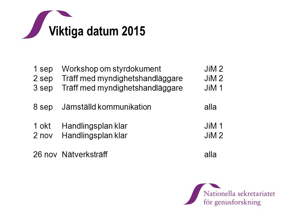 Viktiga datum 2015 1 sep Workshop om styrdokument JiM 2