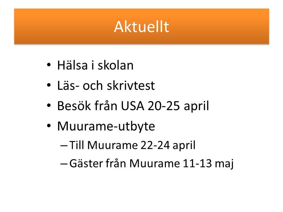 Aktuellt Hälsa i skolan Läs- och skrivtest Besök från USA 20-25 april