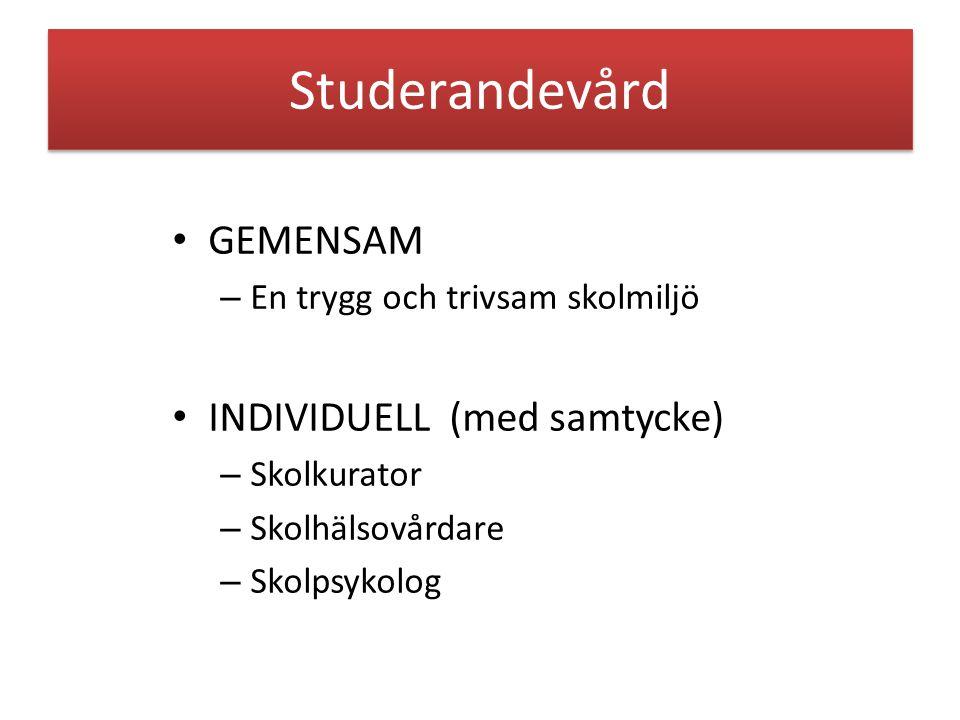 Studerandevård GEMENSAM INDIVIDUELL (med samtycke)