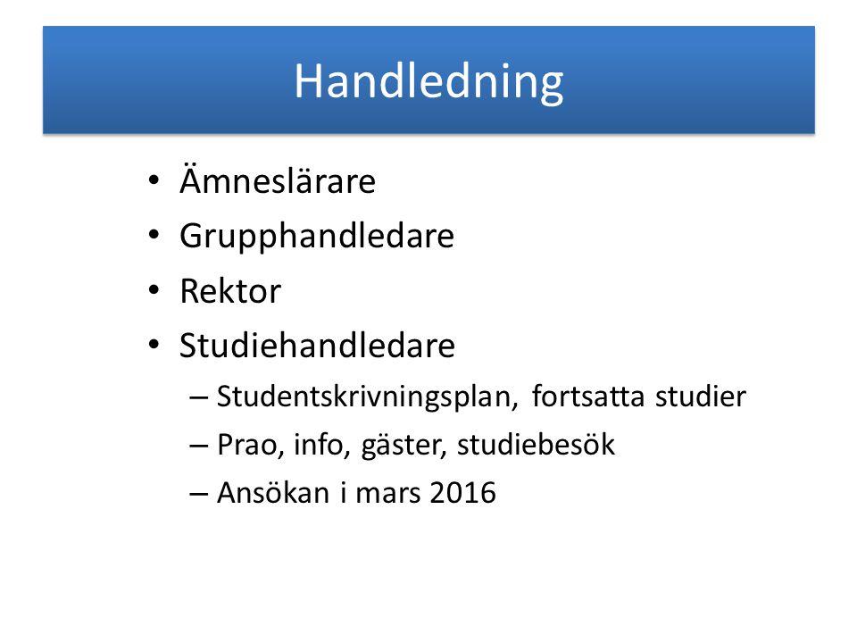 Handledning Ämneslärare Grupphandledare Rektor Studiehandledare