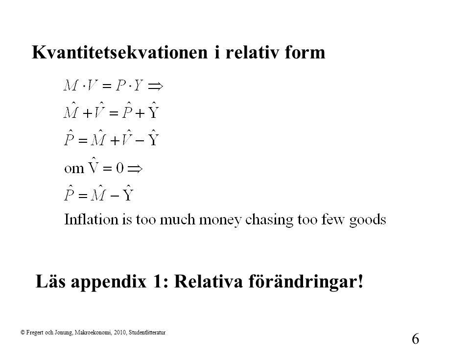 Kvantitetsekvationen i relativ form