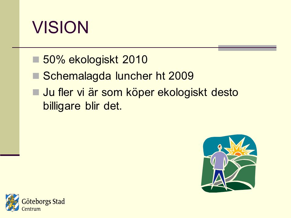 VISION 50% ekologiskt 2010 Schemalagda luncher ht 2009