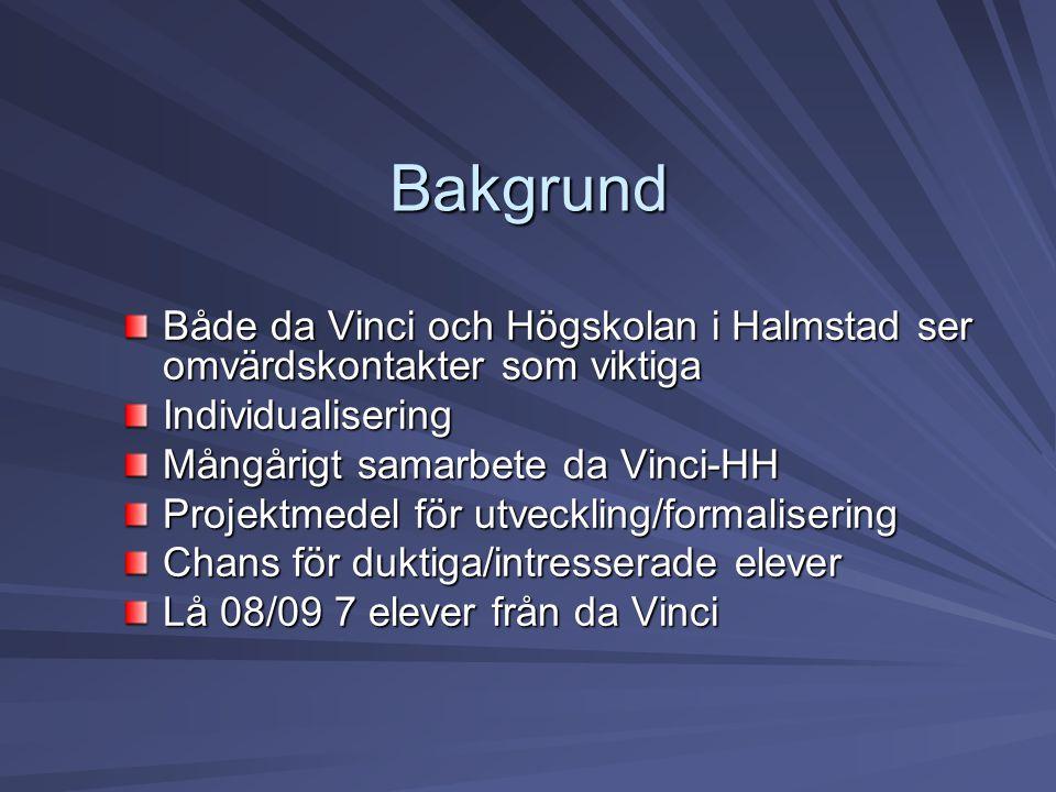 Bakgrund Både da Vinci och Högskolan i Halmstad ser omvärdskontakter som viktiga. Individualisering.