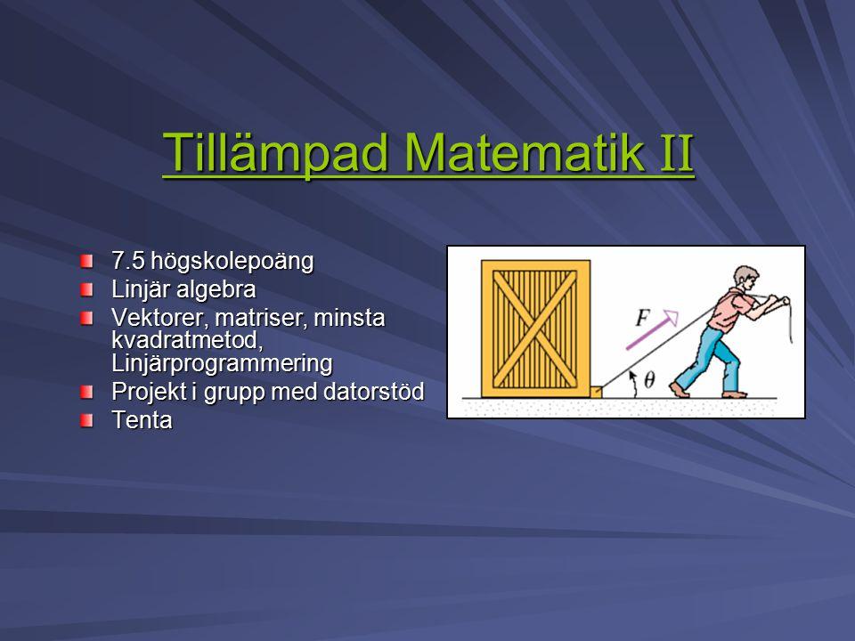 Tillämpad Matematik II