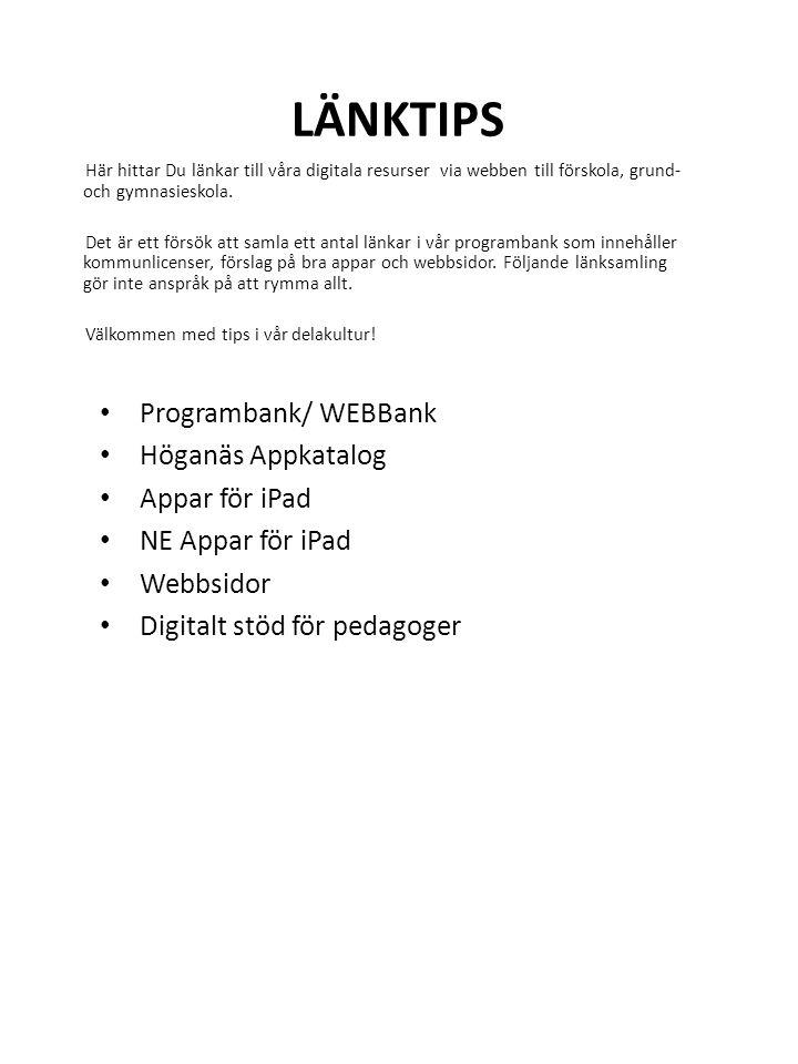 Länktips Programbank/ WEBBank Höganäs Appkatalog Appar för iPad