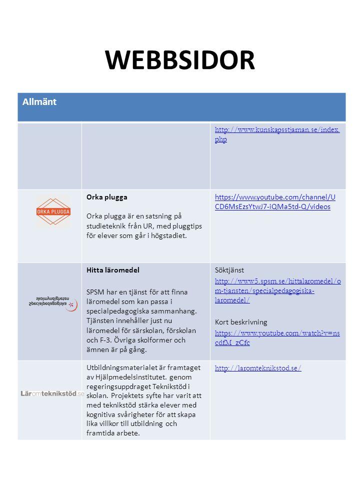 WEBBSIDOR Allmänt http://www.kunskapsstjarnan.se/index. php