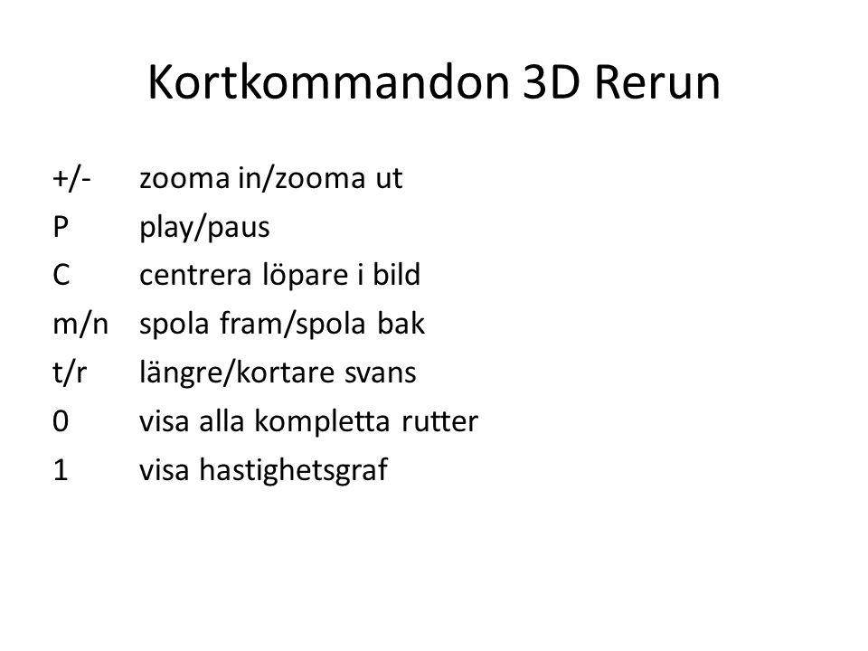 Kortkommandon 3D Rerun