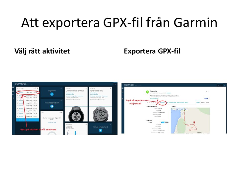 Att exportera GPX-fil från Garmin