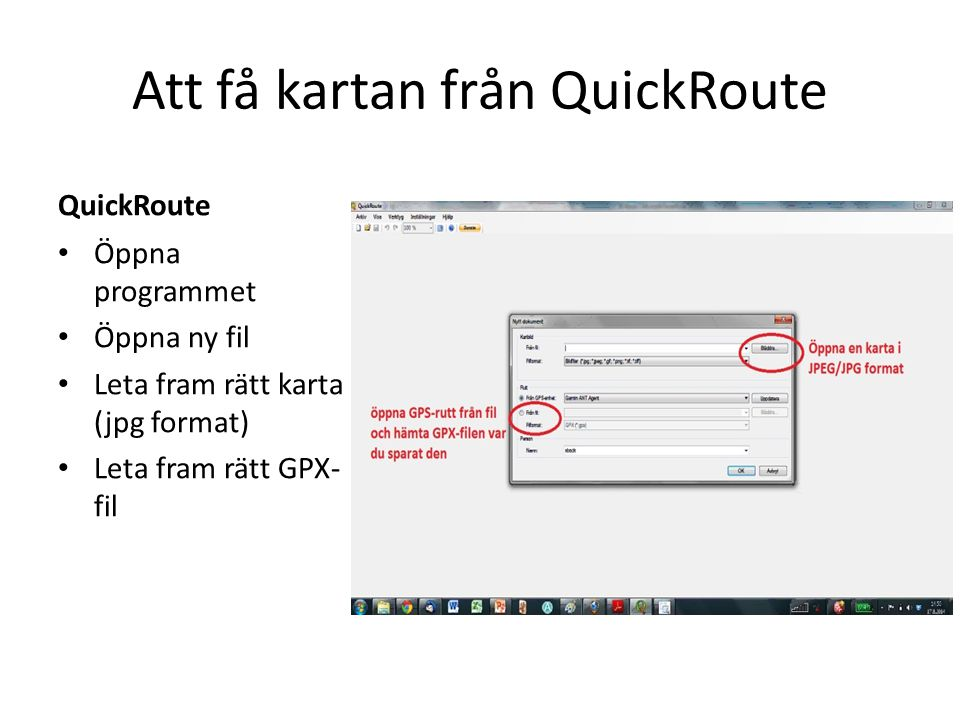 Att få kartan från QuickRoute