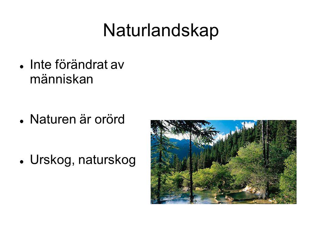 Naturlandskap Inte förändrat av människan Naturen är orörd