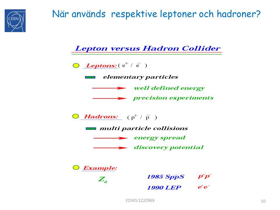 När används respektive leptoner och hadroner