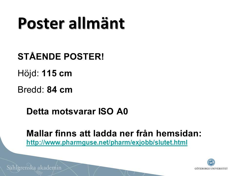 Poster allmänt STÅENDE POSTER! Höjd: 115 cm
