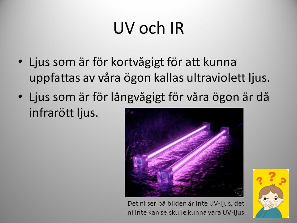 UV och IR Ljus som är för kortvågigt för att kunna uppfattas av våra ögon kallas ultraviolett ljus.