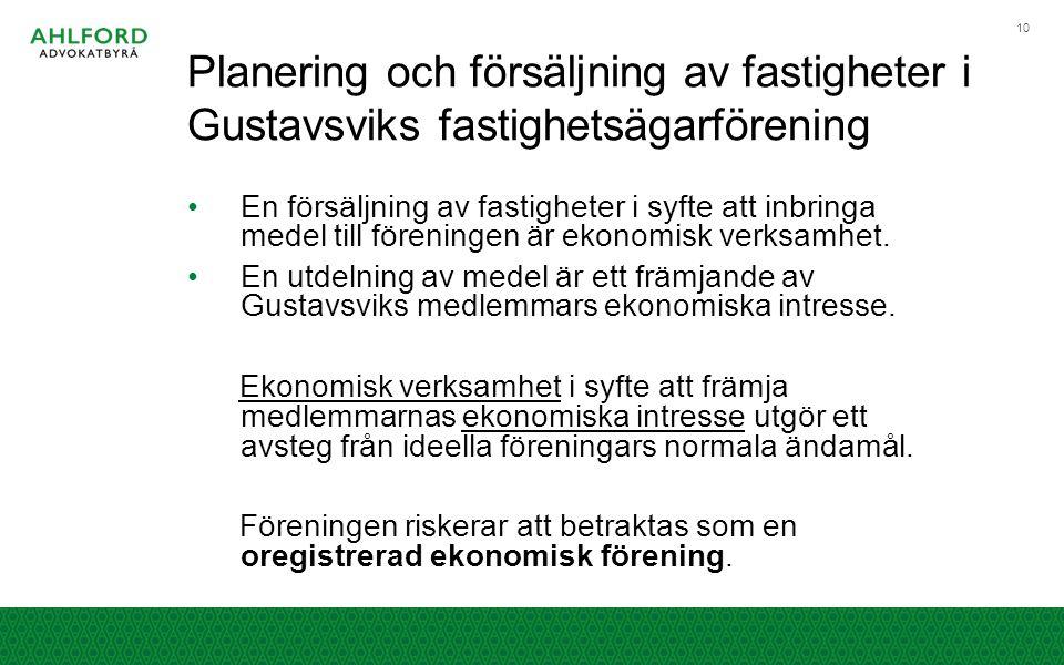 Planering och försäljning av fastigheter i Gustavsviks fastighetsägarförening