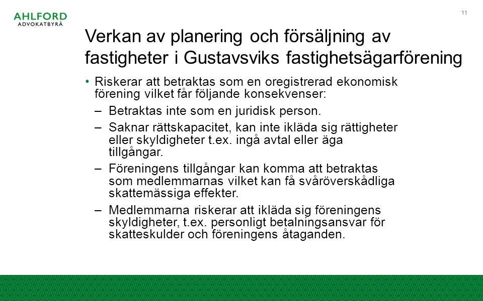 Verkan av planering och försäljning av fastigheter i Gustavsviks fastighetsägarförening